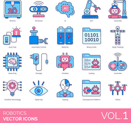 Line icons of robotics, creative technology, artificial intelligence, development Illustration