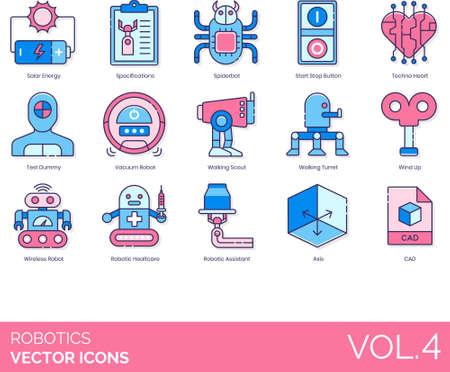 Line icons of robotics, artificial intelligence, futuristic, industry, CAD