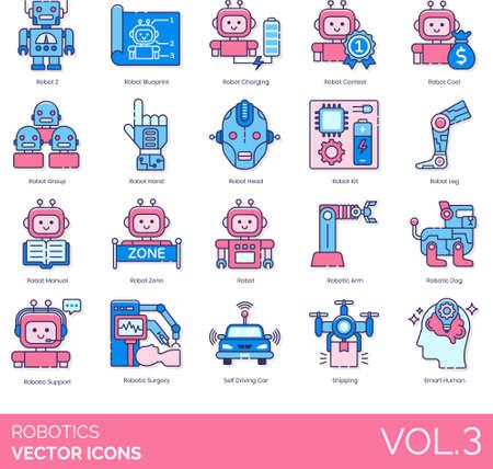 Line icons of robotics, artificial intelligence, robot manual, smart technology