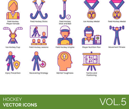 Line icons of hockey cup and medals, umpire, tactics and positioning