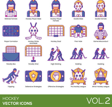 Line icons of hockey player, formation, strategy, league