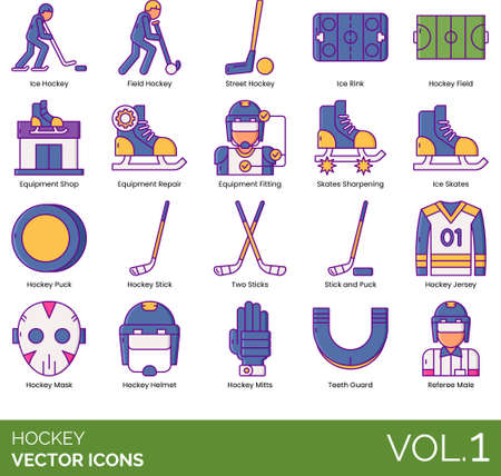 Line icons of hockey categories, gear and equipment