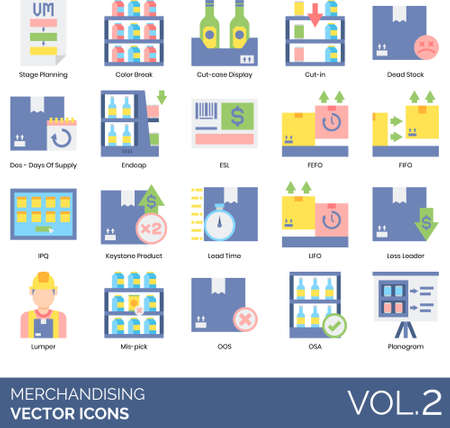 Flat icons of merchandising, product display, stage planning, lumper