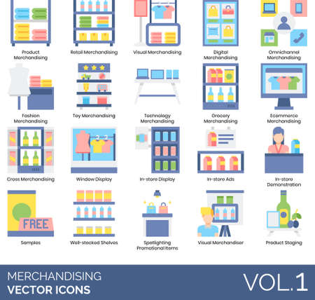 Flat icons of merchandising categories, product staging, visual merchandiser