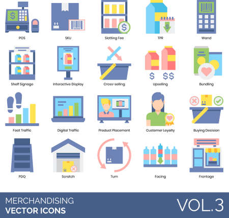 Flat icons of merchandising, point of sale, product placement, interactive display, upselling