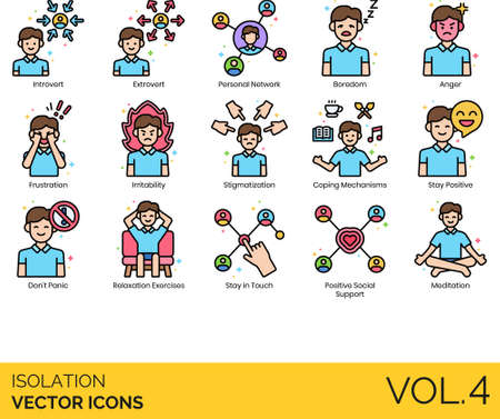 Line icons of isolation and quarantine, psychology, stay positive, social support Illustration