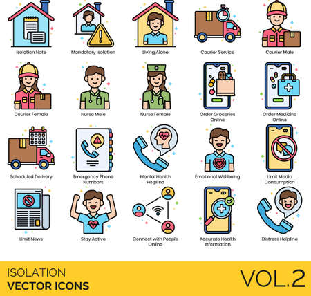 Line icons of isolation during pandemic, quarantine, services, hotline number, emotional wellbeing Illustration
