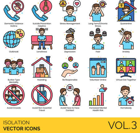 Line icons of isolation and quarantine, helpline, stress management, virus prevention