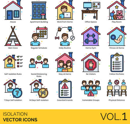 Line icons of isolation during pandemic, home activities, self-isolation rules