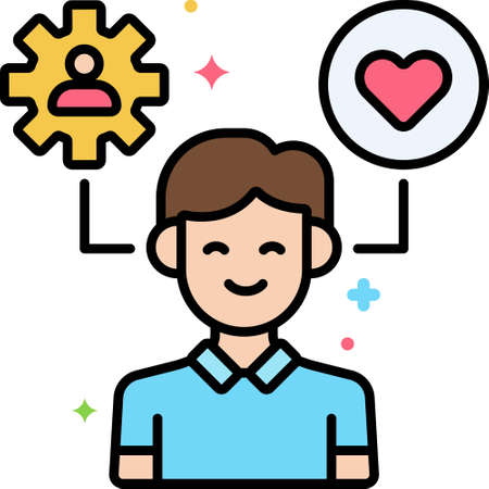 Line vector icon of stress management. Illustration of a happy man with cogwheel and heart symbol.