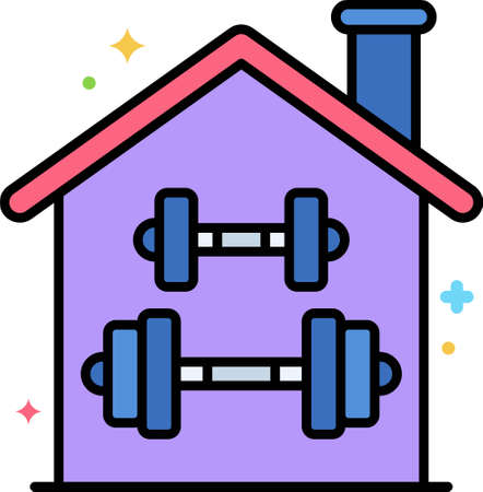 Line vector icon illustration of two dumbbells inside a house. Home gym concept. Illustration