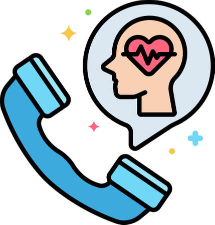 Line vector icon illustration of mental health helpline during quarantine and isolation