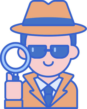 Line vector icon illustration of male detective holding magnifying glass. Private investigator man concept.
