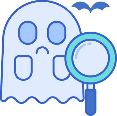 Line vector icon of paranormal investigator. Illustration of a ghost and magnifying glass.