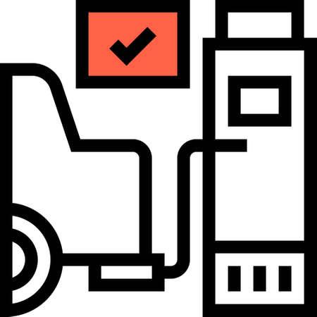 Line vector icons illustration of car exhaust gas diagnostic station. Emission test concept.