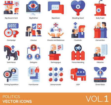Flat icons of government politics and election, political movement, tactics