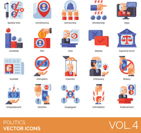 Flat icons of government politics and election, fraud, corruption, endorsement  イラスト・ベクター素材