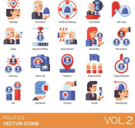 Flat icons of government politics and election, political party, tactics, poll