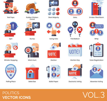 Flat icons of government politics and election, voting, polling place Ilustrace