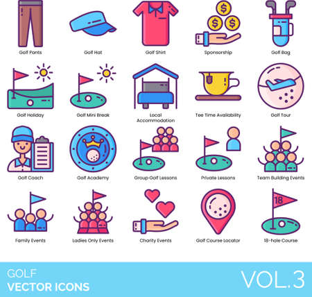 Line icons of golf course, gear, academy, events