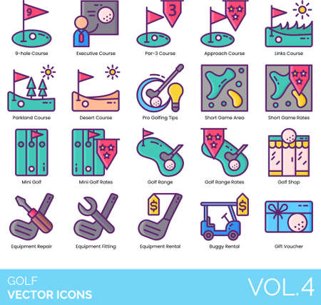 Line icons of golf course, mini golf, shop, golf equipment, gift voucher