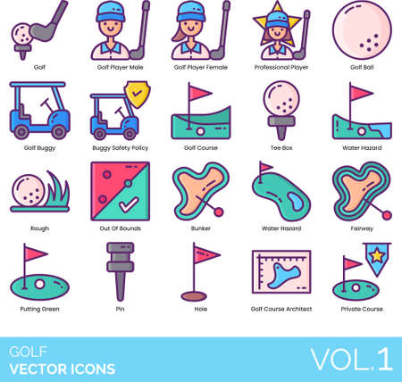 Line icons of golf course, professional player, buggy, area Illustration