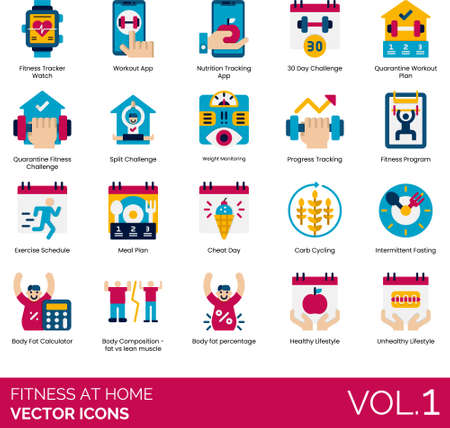 Flat icons of fitness at home, workout app, program, nutrition tracking, exercise  イラスト・ベクター素材