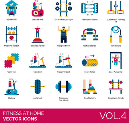Flat icons of fitness at home, gym equipment, training
