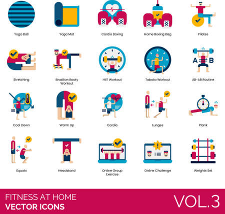 Flat icons of fitness at home, sports, workout, online group exercise