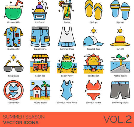 Line icons of summer season fashion, tropical beverages, vacation, beach party