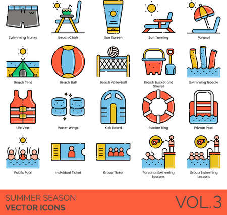 Line icons of summer season holiday, beach activities, equipment, swimming pool