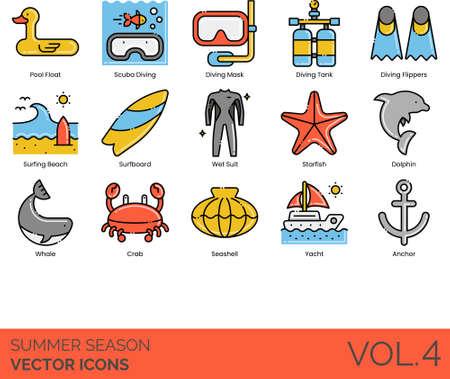 Line icons of summer season travel, diving equipment, sea animals, watercraft
