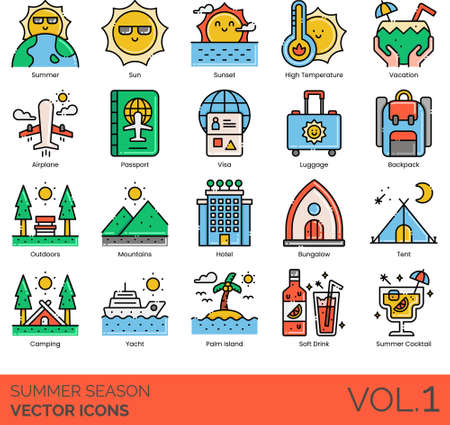 Line icons of summer season holiday, travel, outdoor, accommodation, cocktail