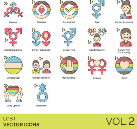 Line icons of LGBT symbols, gender, sexual orientation signs