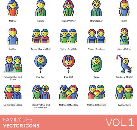 Line icons of family life, member, people relationship