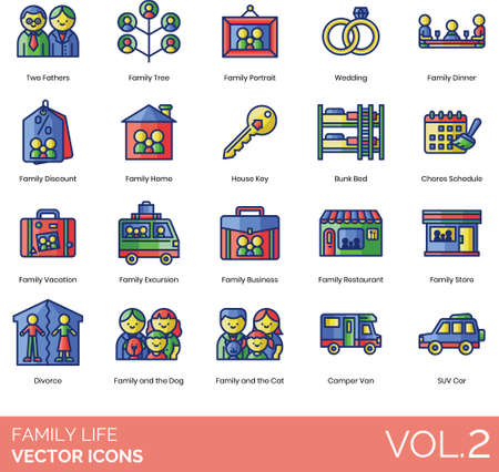 Line icons of family life, activities, events, pets