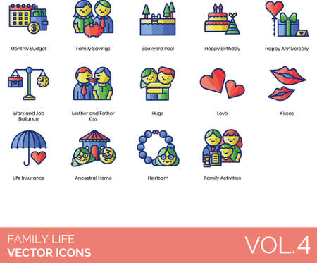 Line icons of family life, events and activities, insurance 向量圖像