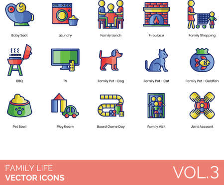 Line icons of family life, household, pets