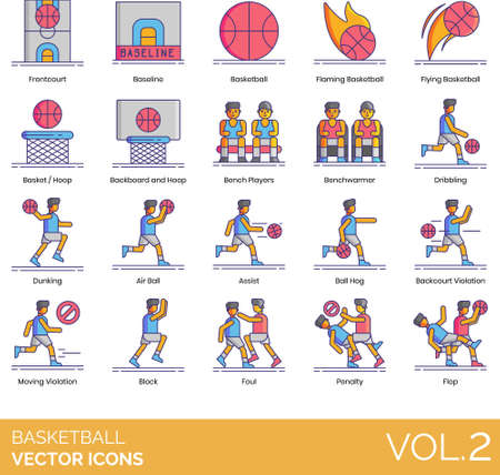Line icons of basketball and hoop, basketball technique, rules 向量圖像