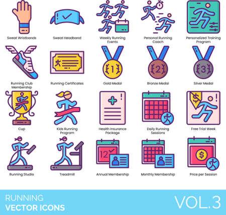 Line icons of running events, training program, awards, membership