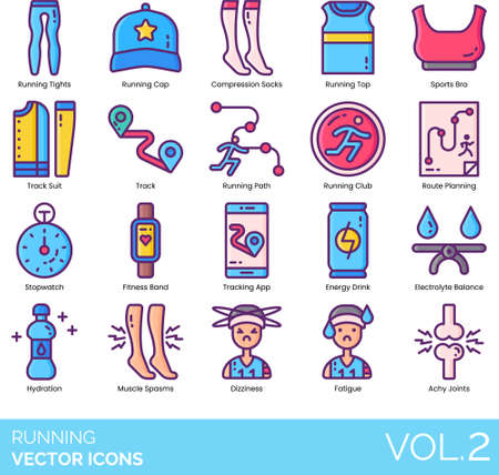 Line icons of running gear, club, fitness app, tracking app, hydration