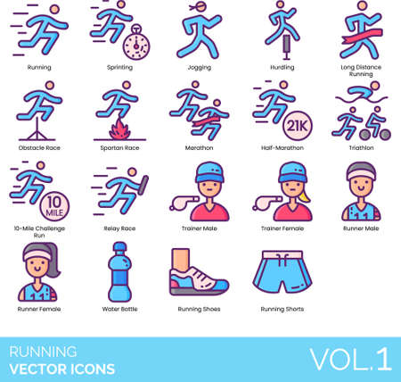 Line icons of running categories, trainer, runner, running gear