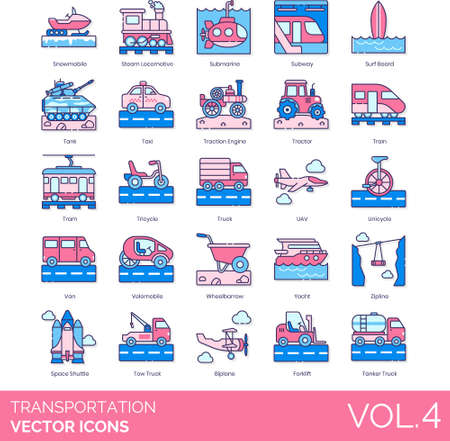Line icons of transportation mode, land, water, air, space transport, logistics, public and private vehicle