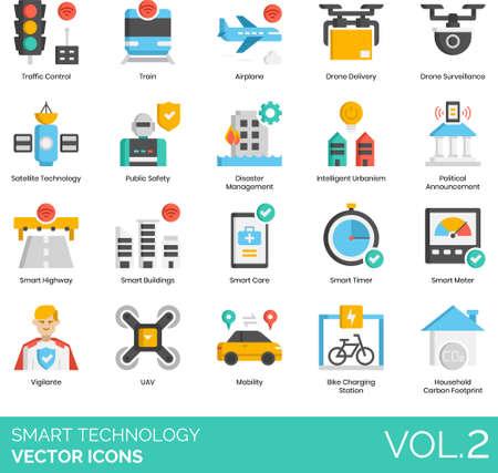 Flat icons of smart technology, intelligent urbanism, smart vehicle, automation