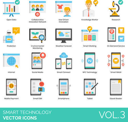 Flat icons of smart technology, innovation, internet, devices 向量圖像