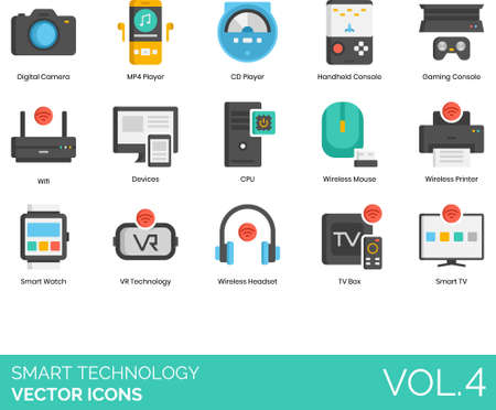 Flat icons of smart technology, electronics, wireless devices, wifi