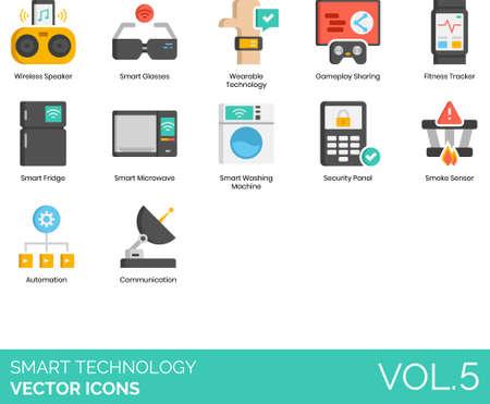 Flat icons of smart technology, wireless electronics, household appliances, automation, communication
