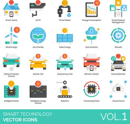 Flat icons of smart technology, zero emission, sustainability, intelligent power, smart car