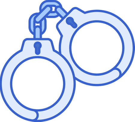 Line vector icon illustration of handcuffs