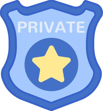 Line vector icon illustration of PI private investigator badge 向量圖像